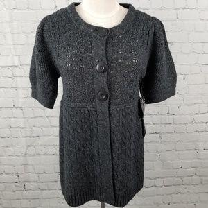 HARMONIC   gray button short sleeve knit sweater